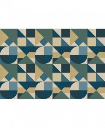 Tovaglia piramidi deco blu rotolo
