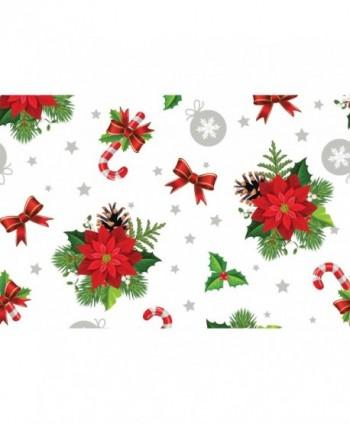 Tovaglia stelle di Natale bianca rotolo