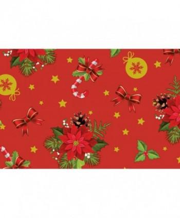 Tovaglia stelle di Natale rossa rotolo